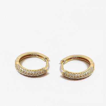14K Gold Dipped /925 Sterling Silver Huggie Earrings