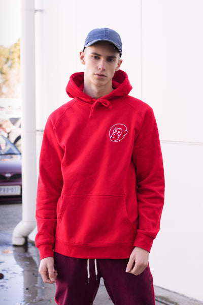 Red Embroidered Logo Hoodie - Mid Weight