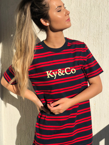 Ky&Co Navy & Red Striped Tee