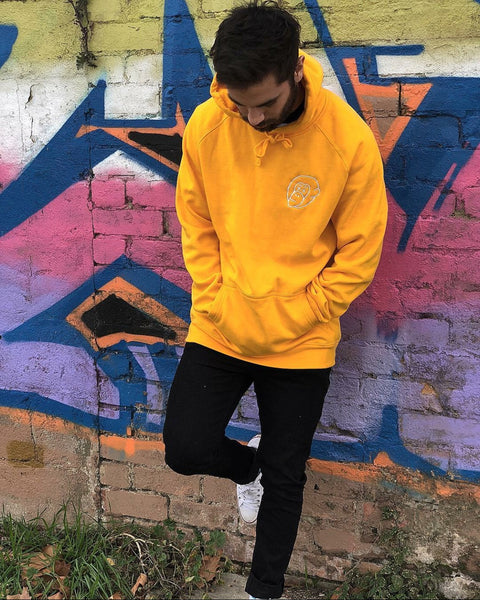 Yellow Embroidered Logo Hoodie - Mid Weight
