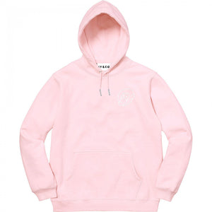 Pink Embroidered Logo Hoodie - Heavy Weight