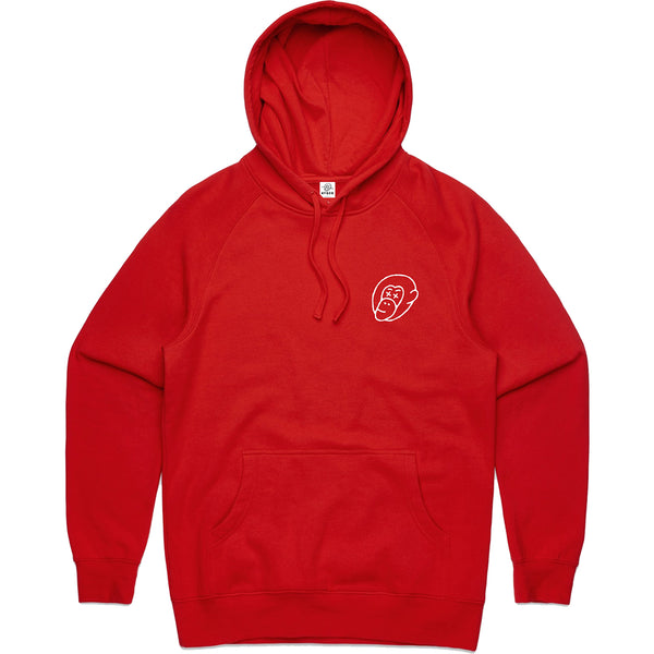 Red Embroidered Logo Hoodie - Mid Weight - Ky&Co Australia