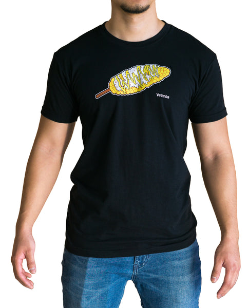 Photo of a man wearing a black t-shirt with an elote graphic.