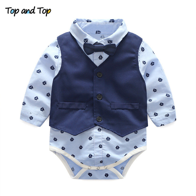 1c2450d17d3 Baby Boys Clothes Gentleman Bow Tie Rompers + Vest + pants – babycl