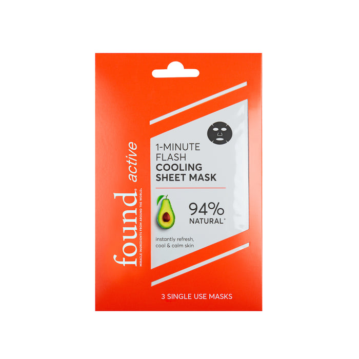 Discover Found | Active 1-Minute Flash Cooling Sheet Mask, 3 Pack