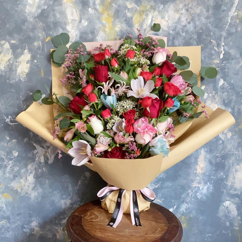 Moulin Rouge - Roses with mixed flowers bouquet - Flourish by Charlene