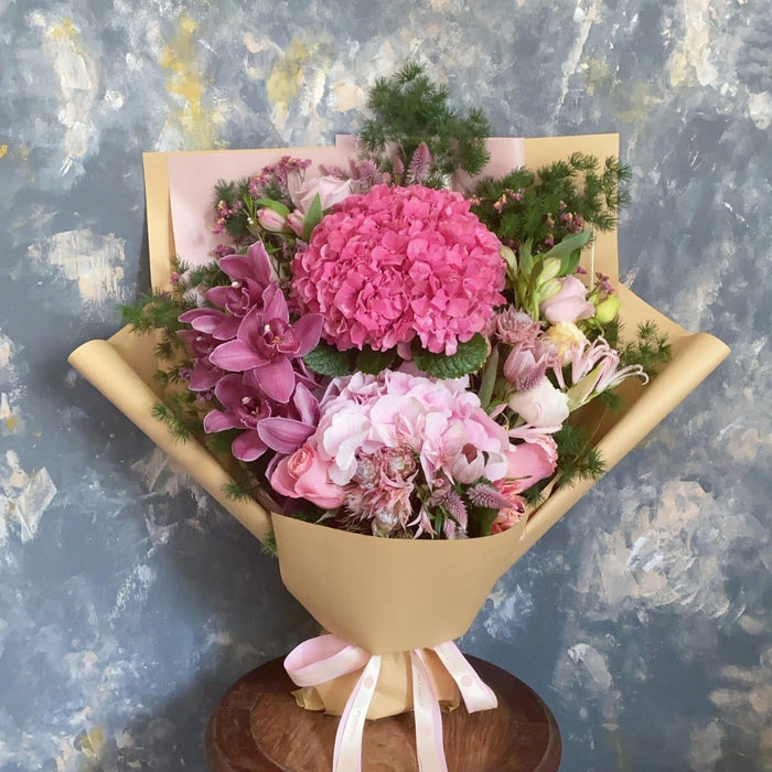 Pink Flamingo - Pink hydrangeas & orchid flower bouquet - Flourish by Charlene