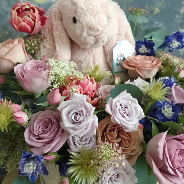 Close up of Baby Bloombox with the softest blush jellycat bunny - Flower Bloombox - Flourish by Charlene