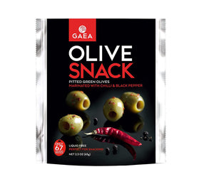GAEA Pitted Green Olive Snack with Chili & Black Pepper