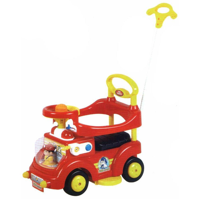 Kids Toddler Red Fire Engine Ride On Toy with Push Bar - Aussie Baby