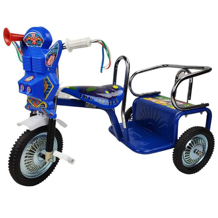 Space Kid Two Seats Tricycle - Blue - Aussie Baby