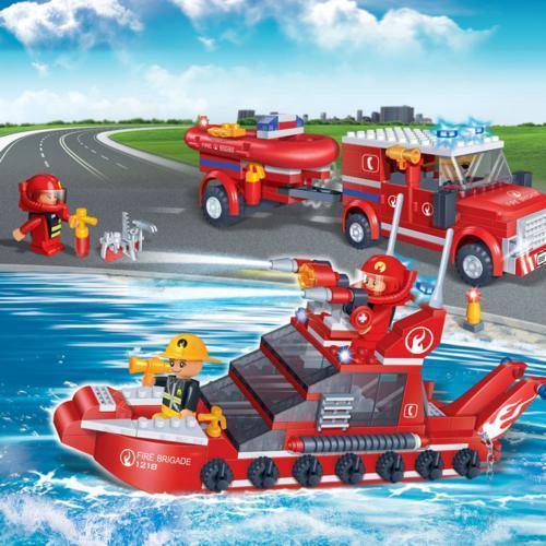 BanBao Fire and Rescue - Fire Car and Boat Set 8312