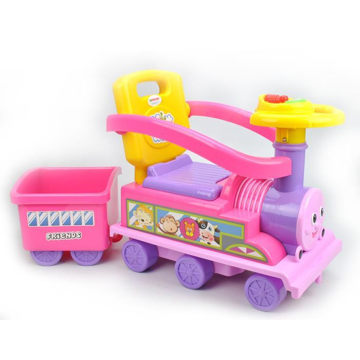 Toddler Kids Choo Choo Ride-On Train Toy with Trailer - Pink - Aussie Baby