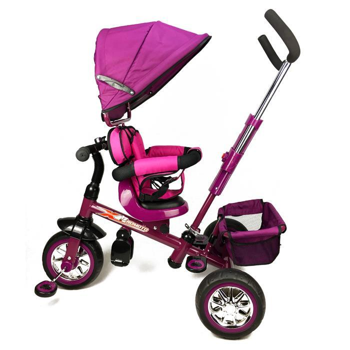 Reverse Seat Kids Baby Toddler Tricycle with Parent Handle - Purple - Aussie Baby