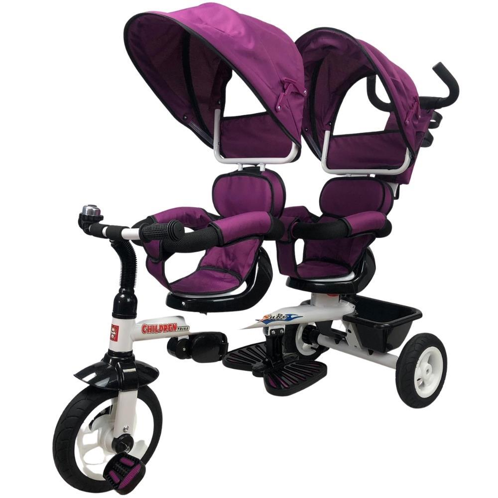 Kids Tandem Tricycle Double Seats Ride-On Trike With Parent Handle - Purple
