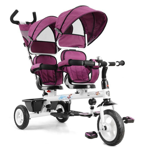 Kids Tandem Tricycle Double Seats Ride-On Trike With Parent Handle - Purple - Aussie Baby
