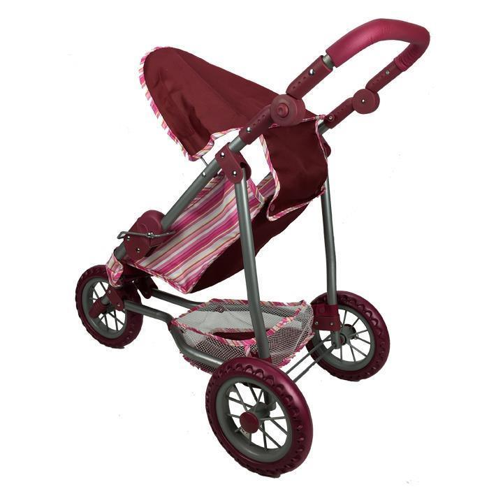 Girls Three Wheel Doll Stroller - Purple