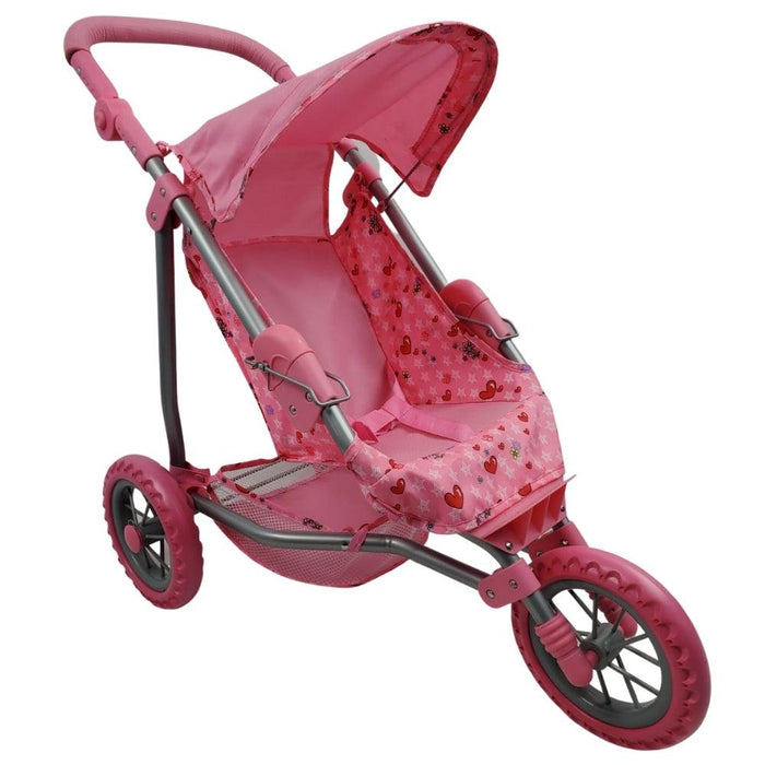 Girls Three Wheel Doll Stroller - Heart