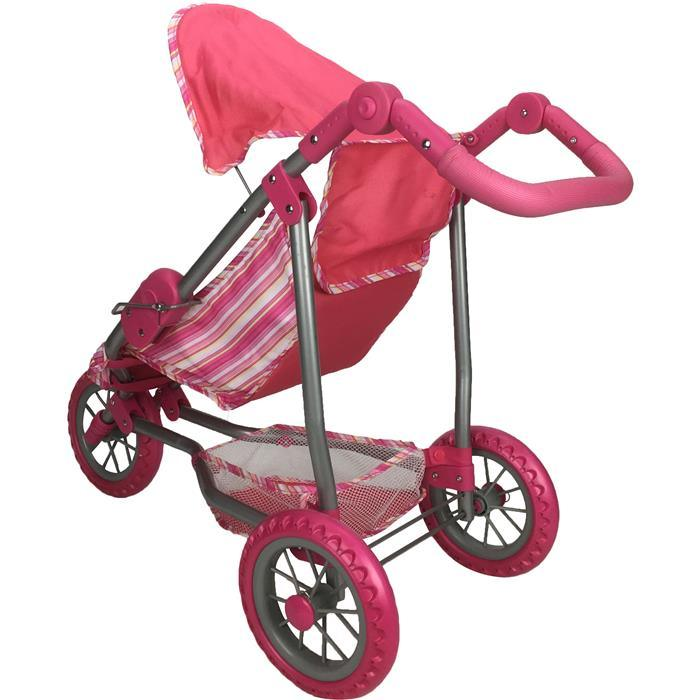 Girls Three Wheel Doll Stroller - Pink Stripe