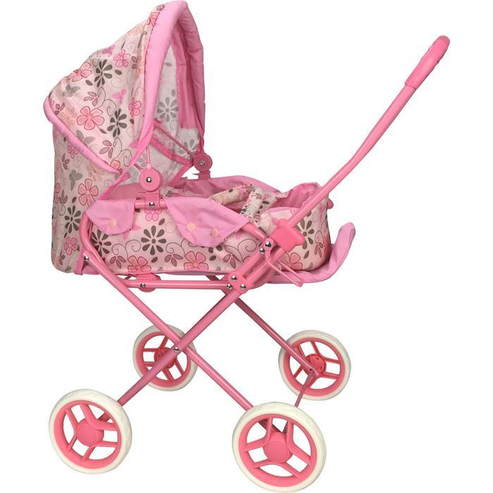 Girls Retro Style Doll Pram - Flower