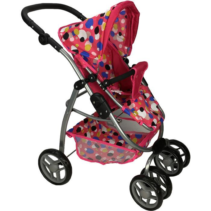 Deluxe Doll Pram with Carry Cot - Polka Dots