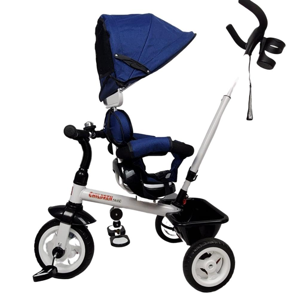 Deluxe Kids Tricycle with Sun Canopy & Parent Handle - Blue