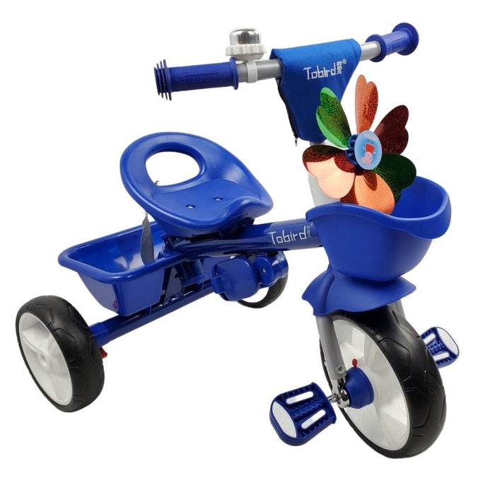 Kids Triangular Trike with Push Handle - Blue