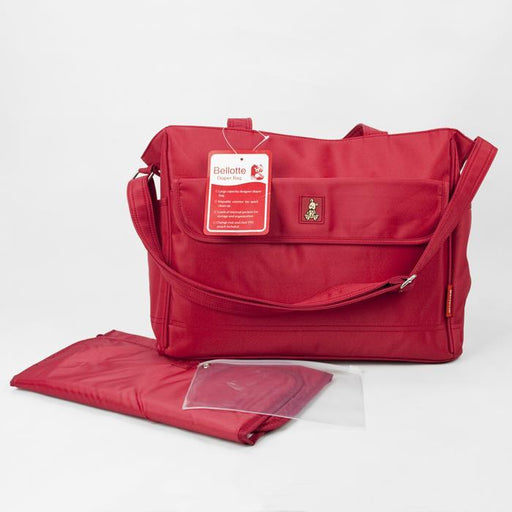 Bellotte Bear Tote Nappy Bag - Red - Aussie Baby