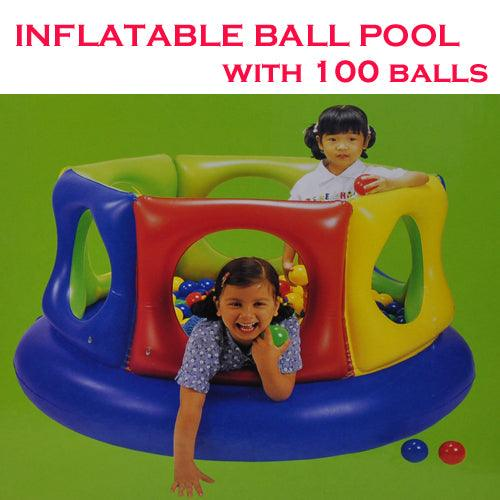 Inflatable Water Ball Pool with 100 Soft Balls - Aussie Baby