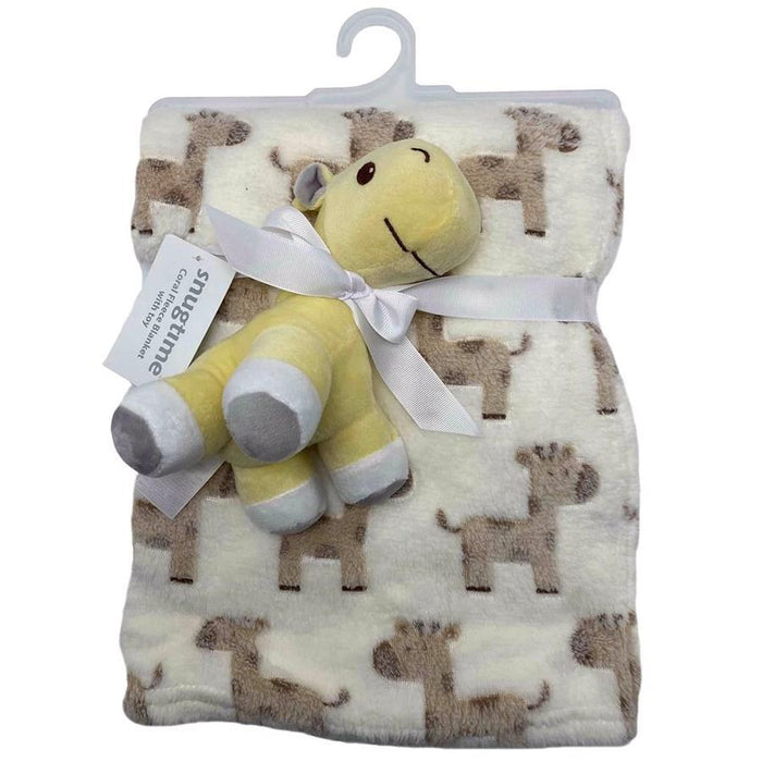 Snugtime Coral Fleece Blanket with Toy - Giraffe