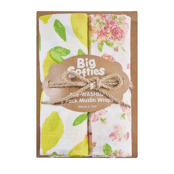 Big Softies Pre-Washed 2 pack Muslin Wraps - Floral