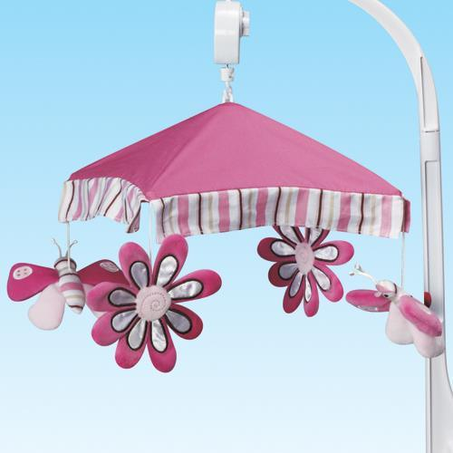 Musical Baby Cot Mobile - Butterfly Pink