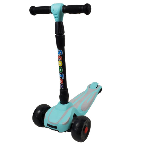 Super Max Kids Foldable Scooter with Flashing Wheels - Aqua - Aussie Baby
