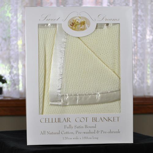 100% Cotton Yellow Cellular Baby Cot Blanket 120x150cm Gift Pack - Aussie Baby