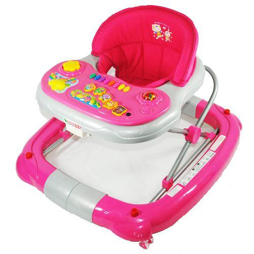 Deluxe Pink Fuchsia Musical Baby Walker Rocker Activity Play Centre - Aussie Baby