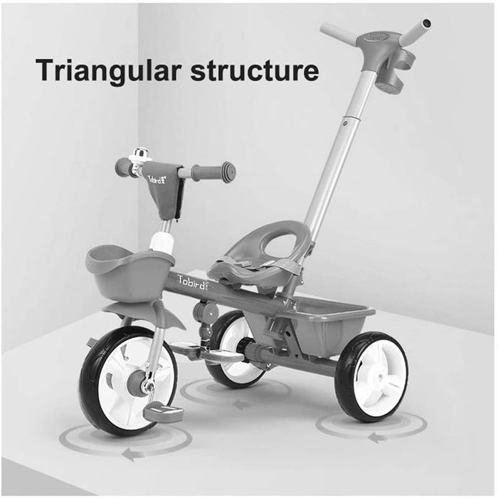 Kids Triangular Trike with Push Handle - Red