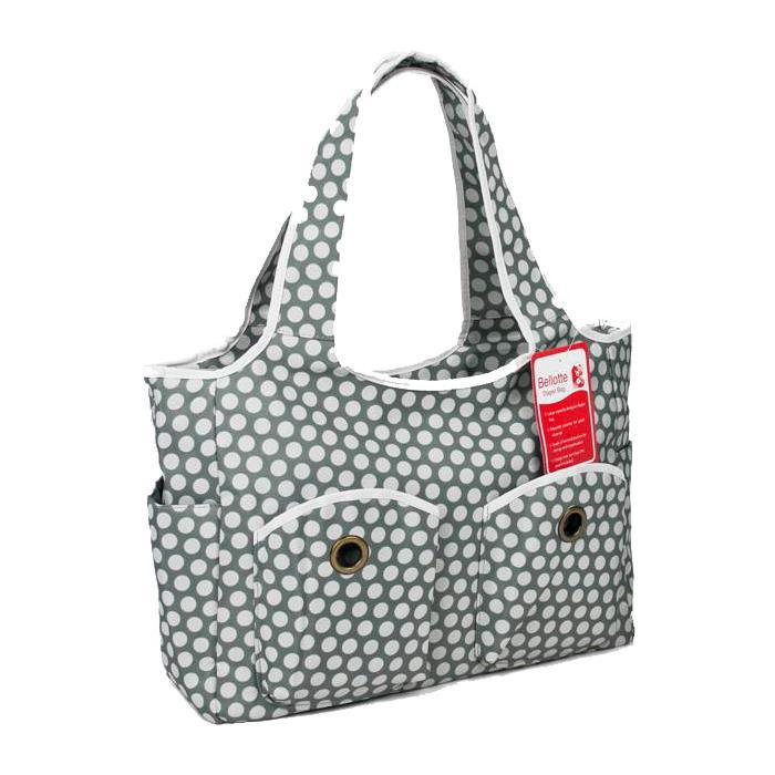 Bellotte Tote Nappy Bag - Grey White Dots