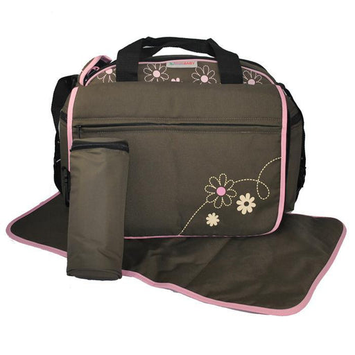 Out & About Carry All Travel Nappy Bag w/ Thermal Bottle Holder - Pink - Aussie Baby