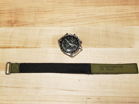 EXTRA Short NASA watchband - MIL-SPEC - OD Green Tape - P/N SEB12100030-209
