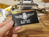 Leather SILVER USAF COMMAND PILOT ASTRONAUT Name Tag & Wings - CUSTOM