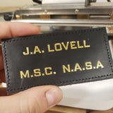 Leather GOLD ASTRONAUT - Name Tag, NO Wings - CUSTOM