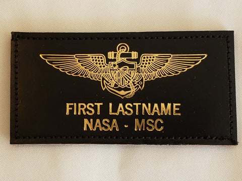 Leather GOLD ASTRONAUT USN/USMC AVIATOR - Name Tag & Wings - CUSTOM