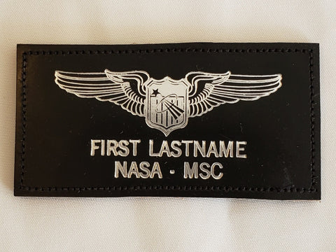 Leather SILVER USAF BASIC PILOT ASTRONAUT Name Tag & Wings - CUSTOM