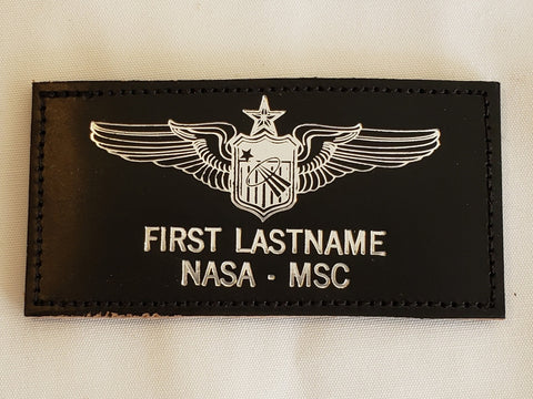 Leather SILVER USAF SENIOR PILOT ASTRONAUT Name Tag & Wings - CUSTOM