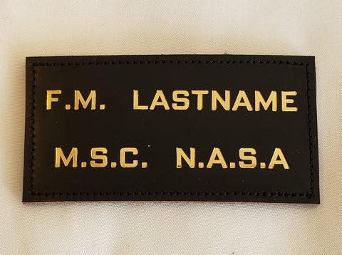 Leather GOLD ASTRONAUT - MSC NASA - Name Tag, NO Wings - CUSTOM