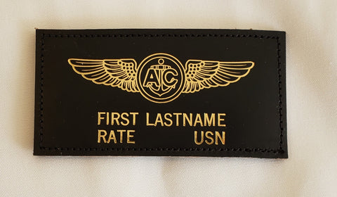 Leather GOLD USN Naval Aircrewman - Name Tag & Wings - CUSTOM