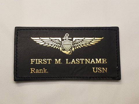 Leather WWII Style USN Name Tag & Wings - CUSTOM
