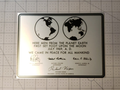 APOLLO 11 LUNAR PLAQUE - 6x8