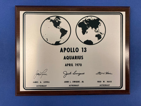 APOLLO 13 LUNAR PLAQUE - Wood Frame