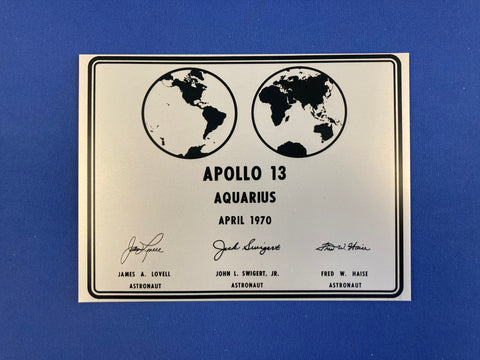 APOLLO 13 LUNAR PLAQUE - 6x8